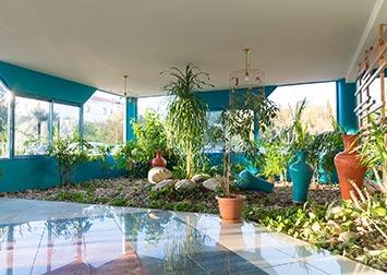 Un jardin intérieur.